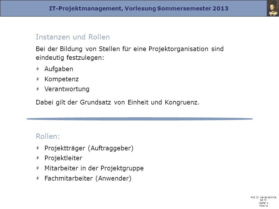 IT-Projektmanagement, Vorlesung Sommersemester 2013 Prof. Dr. Herrad Schmidt SS 13 Kapitel 4 Folie 12 Instanzen und Rollen Bei der Bildung von Stellen