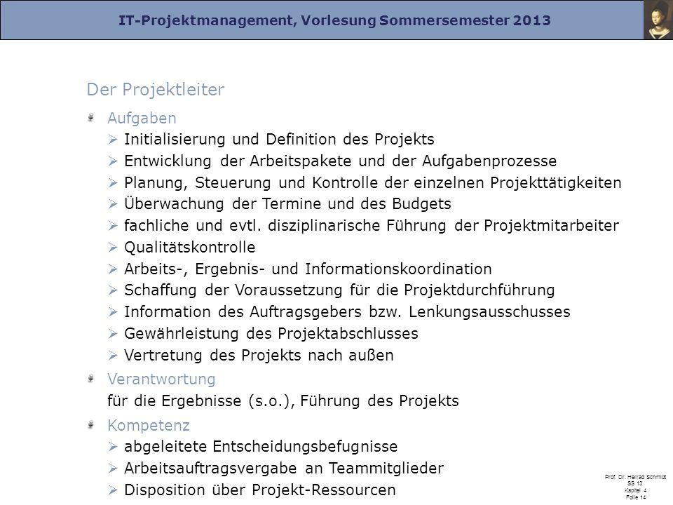 IT-Projektmanagement, Vorlesung Sommersemester 2013 Prof. Dr. Herrad Schmidt SS 13 Kapitel 4 Folie 14 Der Projektleiter Aufgaben Initialisierung und D