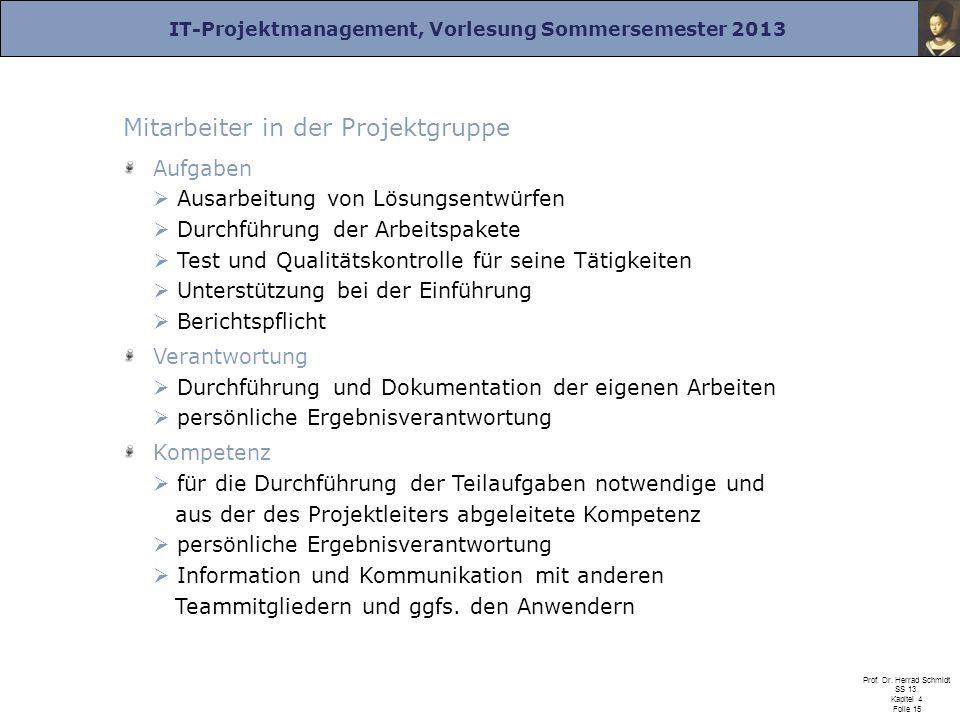 IT-Projektmanagement, Vorlesung Sommersemester 2013 Prof. Dr. Herrad Schmidt SS 13 Kapitel 4 Folie 15 Mitarbeiter in der Projektgruppe Aufgaben Ausarb