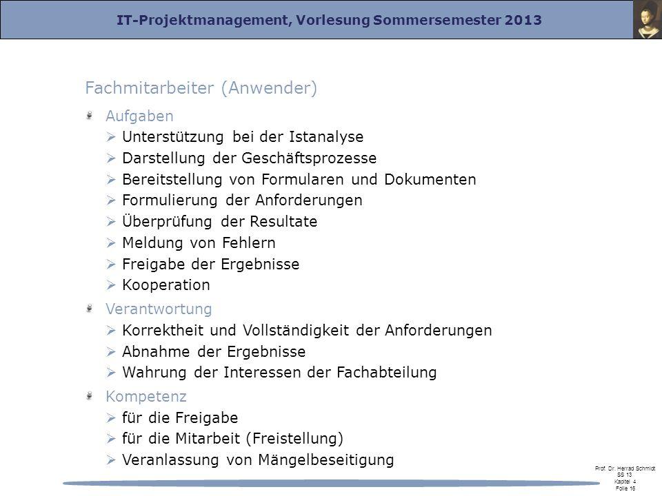 IT-Projektmanagement, Vorlesung Sommersemester 2013 Prof. Dr. Herrad Schmidt SS 13 Kapitel 4 Folie 16 Fachmitarbeiter (Anwender) Aufgaben Unterstützun