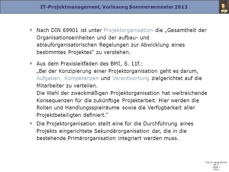 IT-Projektmanagement, Vorlesung Sommersemester 2013 Prof. Dr. Herrad Schmidt SS 13 Kapitel 4 Folie 2 Nach DIN 69901 ist unter Projektorganisation die