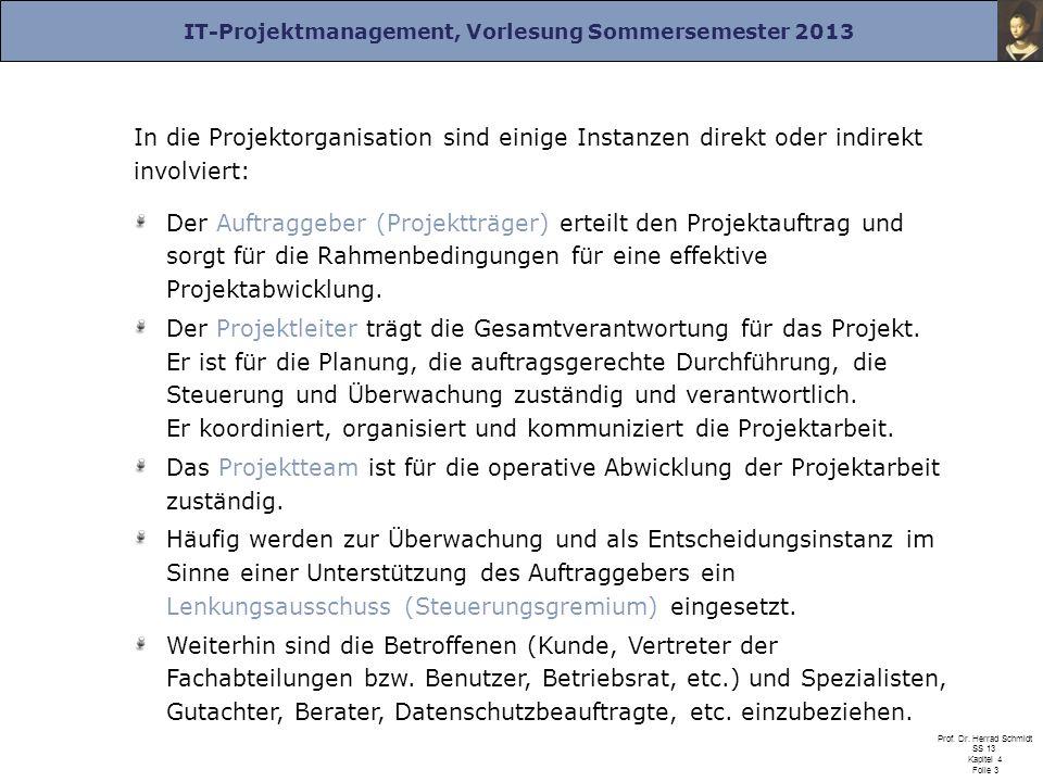 IT-Projektmanagement, Vorlesung Sommersemester 2013 Prof. Dr. Herrad Schmidt SS 13 Kapitel 4 Folie 3 In die Projektorganisation sind einige Instanzen