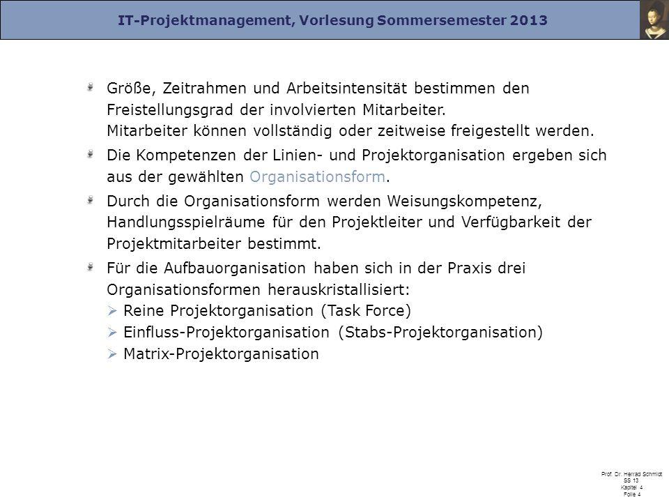 IT-Projektmanagement, Vorlesung Sommersemester 2013 Prof. Dr. Herrad Schmidt SS 13 Kapitel 4 Folie 4 Größe, Zeitrahmen und Arbeitsintensität bestimmen