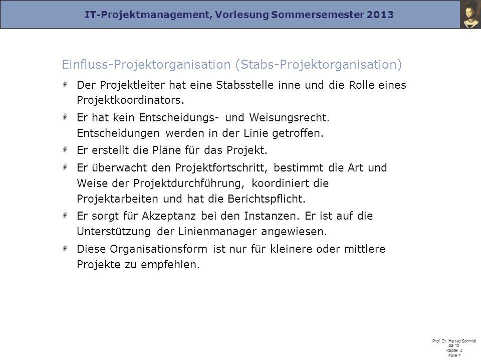 IT-Projektmanagement, Vorlesung Sommersemester 2013 Prof. Dr. Herrad Schmidt SS 13 Kapitel 4 Folie 7 Einfluss-Projektorganisation (Stabs-Projektorgani