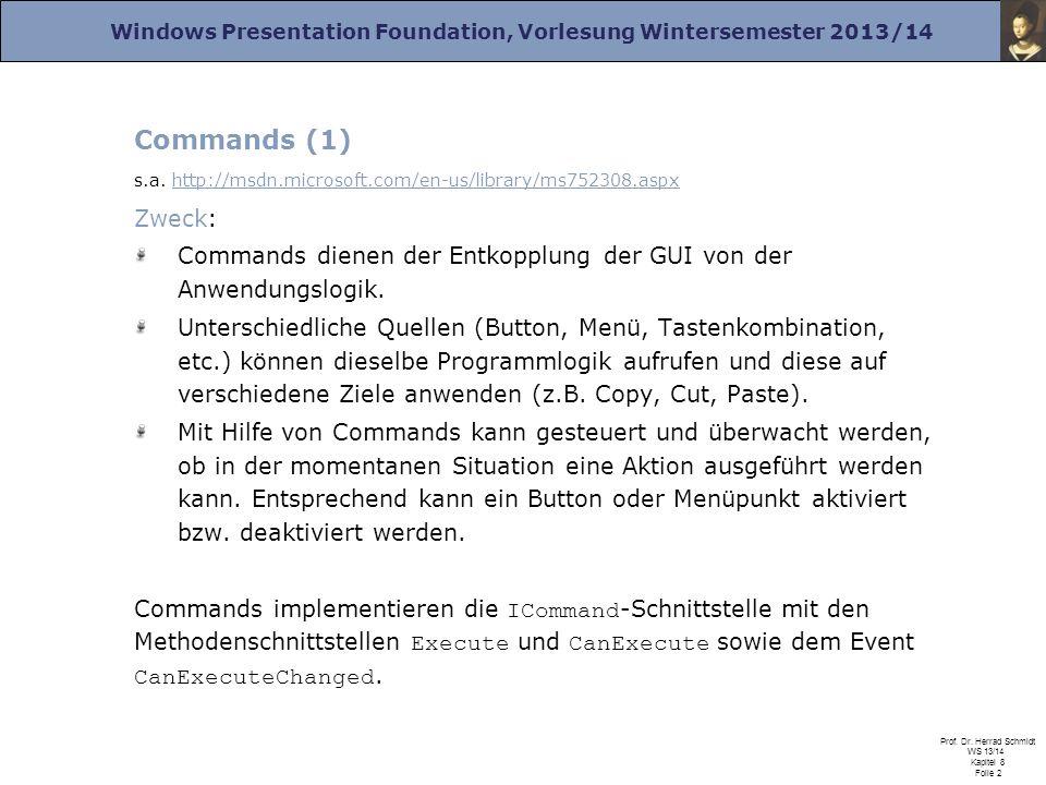 Windows Presentation Foundation, Vorlesung Wintersemester 2013/14 Prof. Dr. Herrad Schmidt WS 13/14 Kapitel 8 Folie 2 Commands (1) s.a. http://msdn.mi