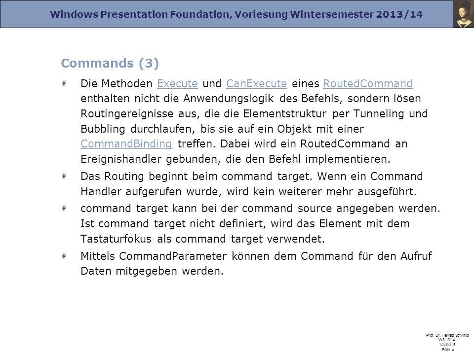 Windows Presentation Foundation, Vorlesung Wintersemester 2013/14 Prof. Dr. Herrad Schmidt WS 13/14 Kapitel 8 Folie 4 Commands (3) Die Methoden Execut