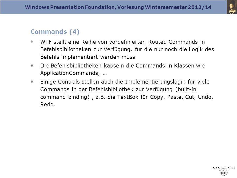 Windows Presentation Foundation, Vorlesung Wintersemester 2013/14 Prof. Dr. Herrad Schmidt WS 13/14 Kapitel 8 Folie 5 Commands (4) WPF stellt eine Rei