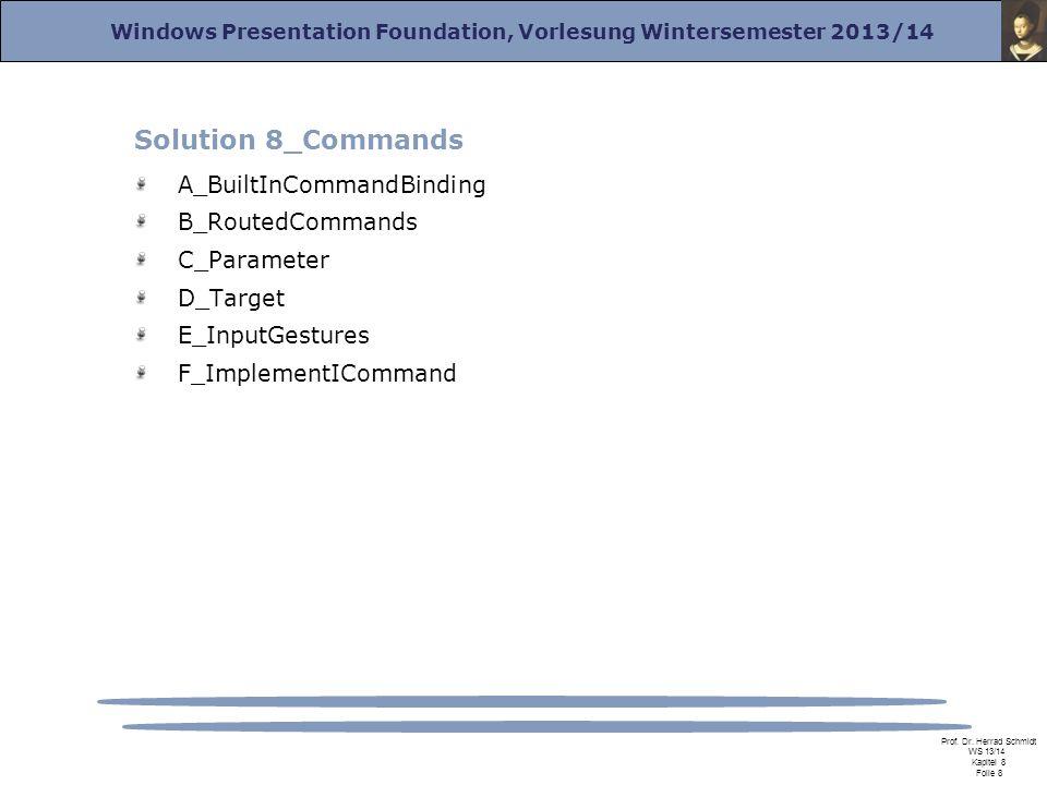Windows Presentation Foundation, Vorlesung Wintersemester 2013/14 Prof. Dr. Herrad Schmidt WS 13/14 Kapitel 8 Folie 8 Solution 8_Commands A_BuiltInCom
