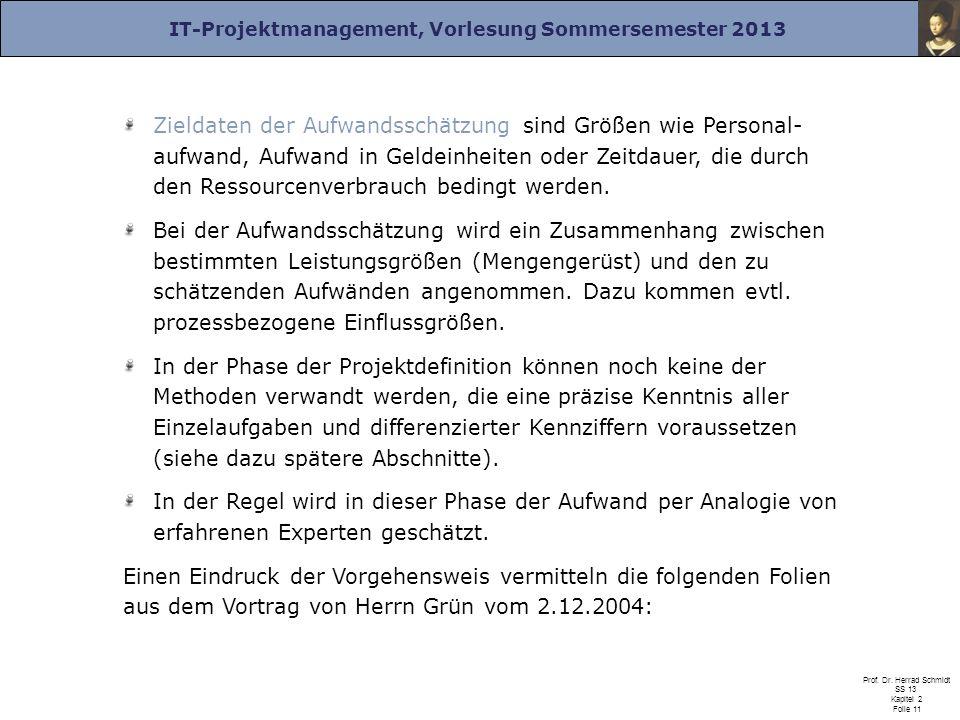 IT-Projektmanagement, Vorlesung Sommersemester 2013 Prof. Dr. Herrad Schmidt SS 13 Kapitel 2 Folie 11 Zieldaten der Aufwandsschätzung sind Größen wie
