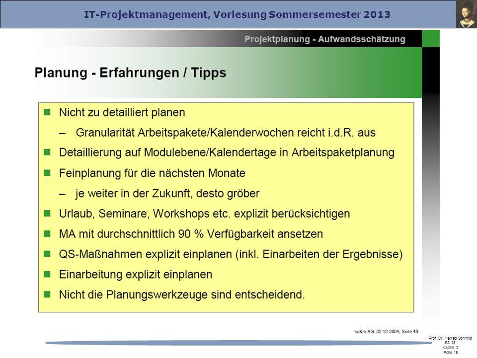 IT-Projektmanagement, Vorlesung Sommersemester 2013 Prof. Dr. Herrad Schmidt SS 13 Kapitel 2 Folie 15