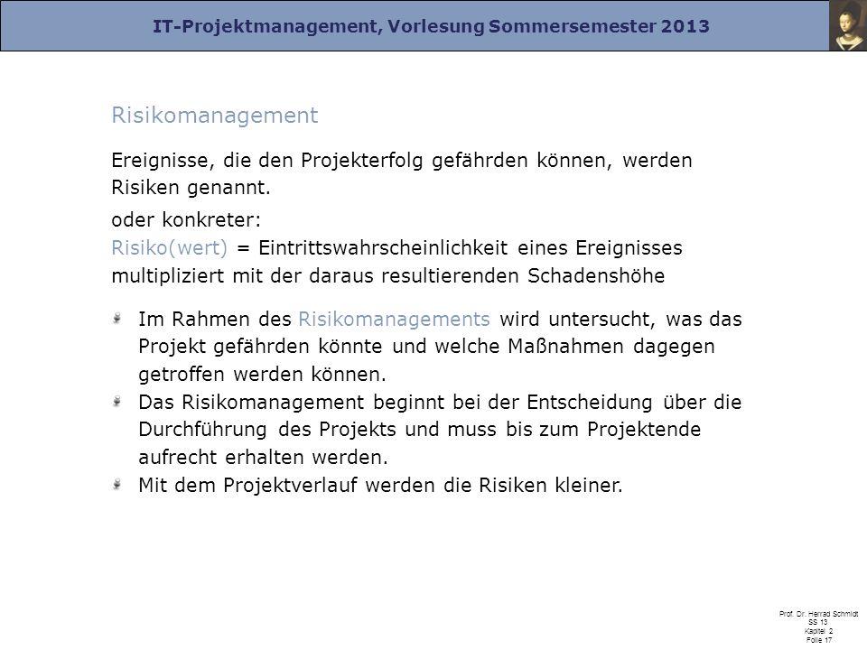 IT-Projektmanagement, Vorlesung Sommersemester 2013 Prof. Dr. Herrad Schmidt SS 13 Kapitel 2 Folie 17 Risikomanagement Ereignisse, die den Projekterfo