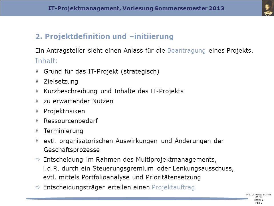 IT-Projektmanagement, Vorlesung Sommersemester 2013 Prof. Dr. Herrad Schmidt SS 13 Kapitel 2 Folie 2 2. Projektdefinition und –initiierung Ein Antrags