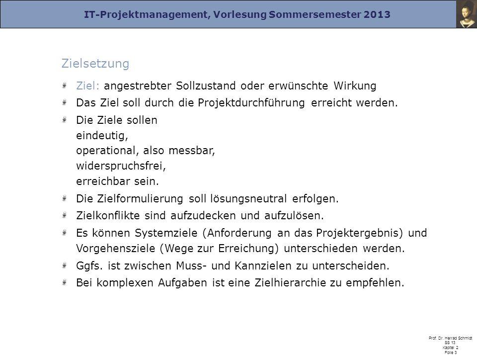 IT-Projektmanagement, Vorlesung Sommersemester 2013 Prof. Dr. Herrad Schmidt SS 13 Kapitel 2 Folie 3 Zielsetzung Ziel: angestrebter Sollzustand oder e