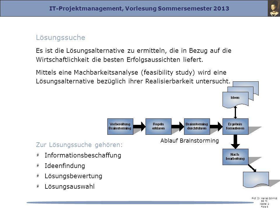 IT-Projektmanagement, Vorlesung Sommersemester 2013 Prof. Dr. Herrad Schmidt SS 13 Kapitel 2 Folie 6 Lösungssuche Es ist die Lösungsalternative zu erm