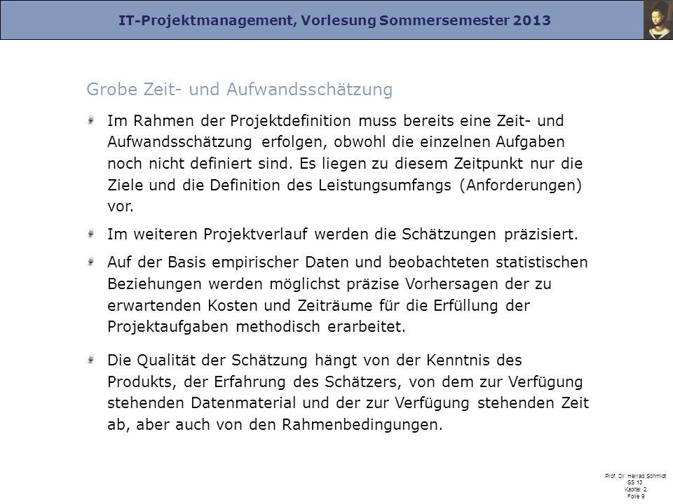 IT-Projektmanagement, Vorlesung Sommersemester 2013 Prof. Dr. Herrad Schmidt SS 13 Kapitel 2 Folie 9 Grobe Zeit- und Aufwandsschätzung Im Rahmen der P