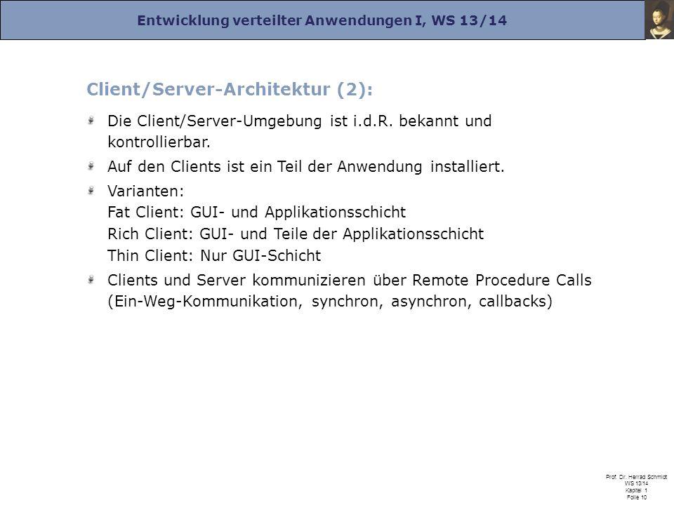 Entwicklung verteilter Anwendungen I, WS 13/14 Prof. Dr. Herrad Schmidt WS 13/14 Kapitel 1 Folie 10 Client/Server-Architektur (2): Die Client/Server-U