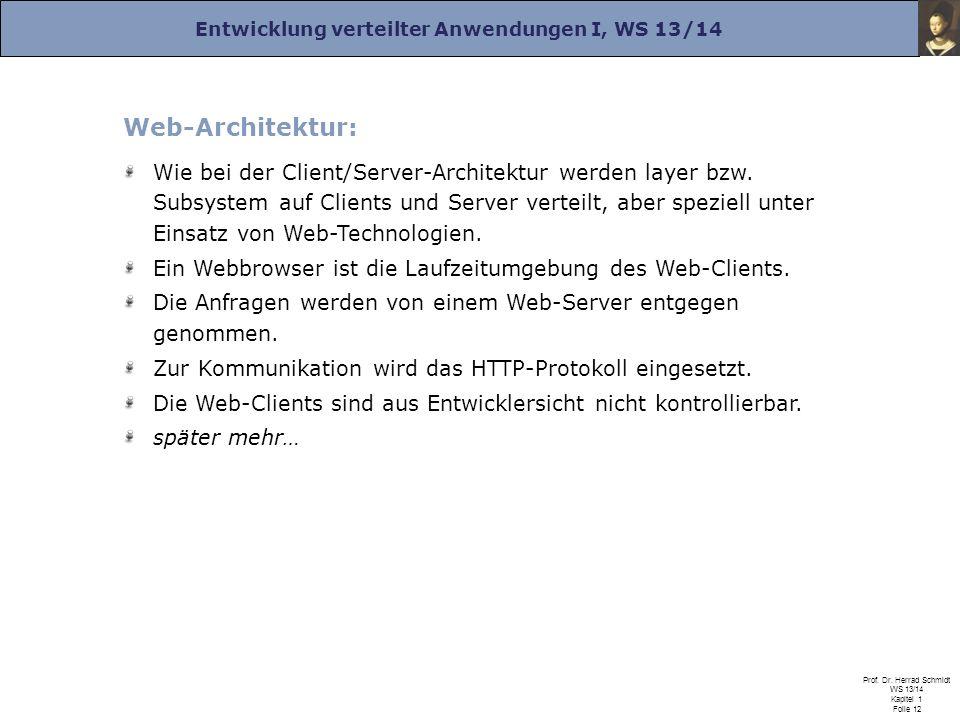 Entwicklung verteilter Anwendungen I, WS 13/14 Prof. Dr. Herrad Schmidt WS 13/14 Kapitel 1 Folie 12 Web-Architektur: Wie bei der Client/Server-Archite