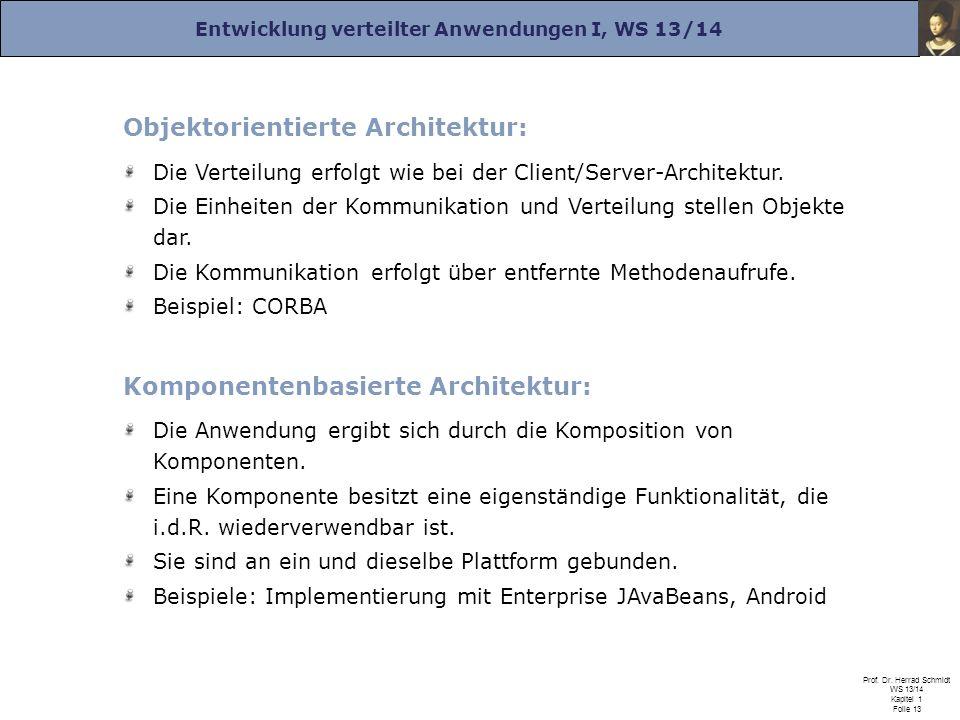 Entwicklung verteilter Anwendungen I, WS 13/14 Prof. Dr. Herrad Schmidt WS 13/14 Kapitel 1 Folie 13 Objektorientierte Architektur: Die Verteilung erfo