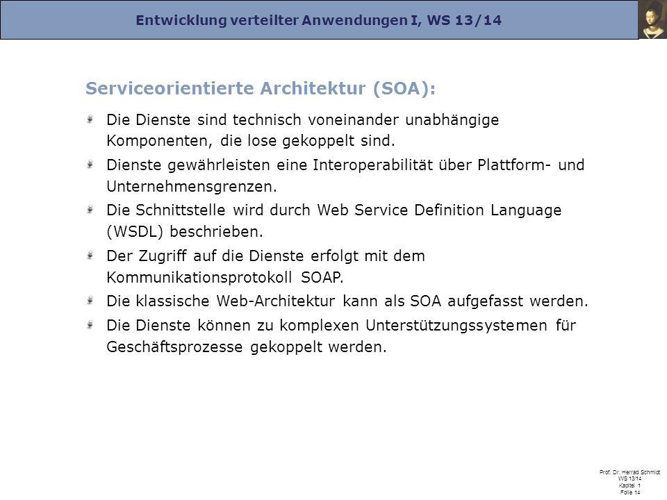 Entwicklung verteilter Anwendungen I, WS 13/14 Prof. Dr. Herrad Schmidt WS 13/14 Kapitel 1 Folie 14 Serviceorientierte Architektur (SOA): Die Dienste