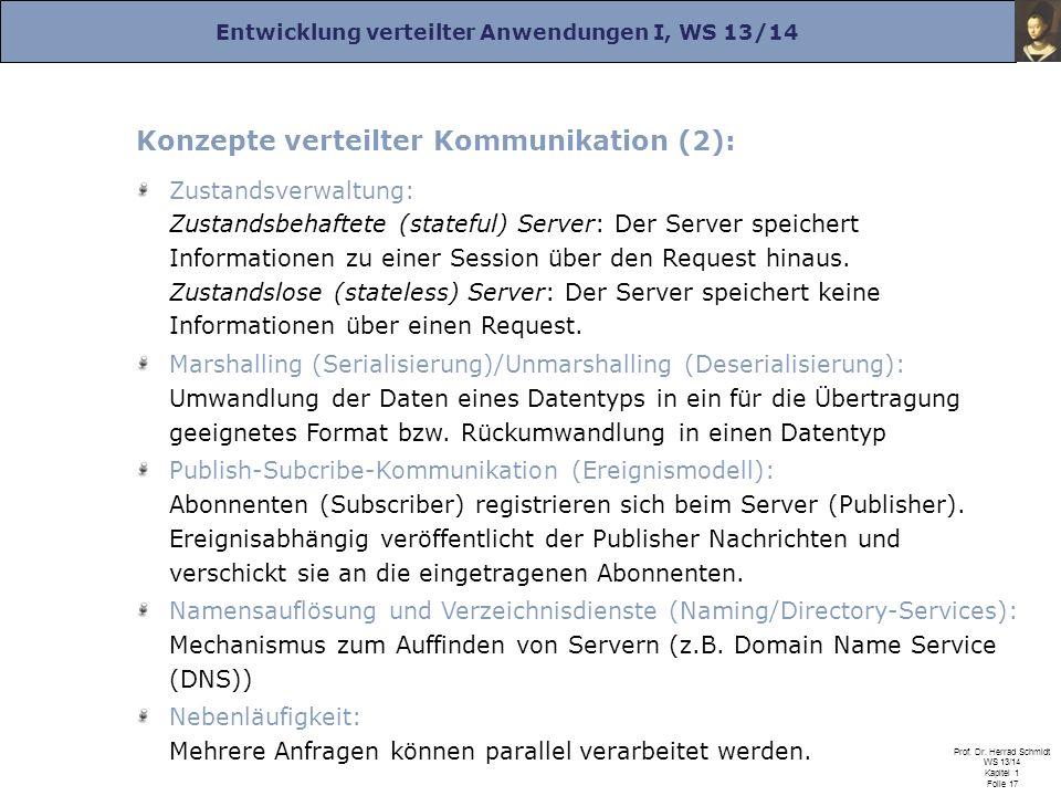 Entwicklung verteilter Anwendungen I, WS 13/14 Prof. Dr. Herrad Schmidt WS 13/14 Kapitel 1 Folie 17 Konzepte verteilter Kommunikation (2): Zustandsver