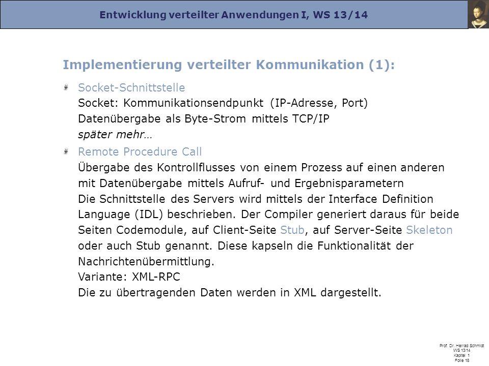 Entwicklung verteilter Anwendungen I, WS 13/14 Prof. Dr. Herrad Schmidt WS 13/14 Kapitel 1 Folie 18 Implementierung verteilter Kommunikation (1): Sock