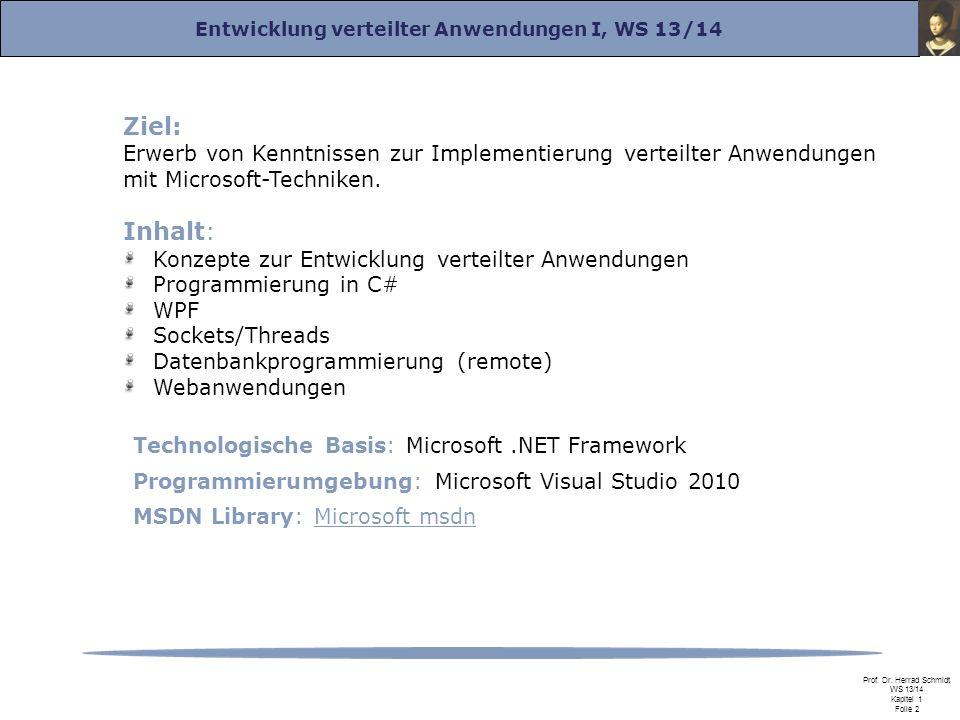 Entwicklung verteilter Anwendungen I, WS 13/14 Prof. Dr. Herrad Schmidt WS 13/14 Kapitel 1 Folie 2 Ziel: Erwerb von Kenntnissen zur Implementierung ve