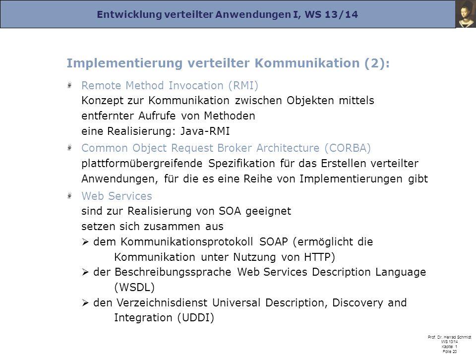Entwicklung verteilter Anwendungen I, WS 13/14 Prof. Dr. Herrad Schmidt WS 13/14 Kapitel 1 Folie 20 Implementierung verteilter Kommunikation (2): Remo