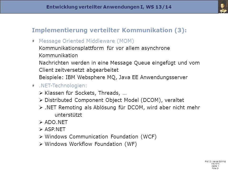 Entwicklung verteilter Anwendungen I, WS 13/14 Prof. Dr. Herrad Schmidt WS 13/14 Kapitel 1 Folie 21 Implementierung verteilter Kommunikation (3): Mess