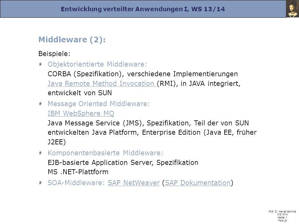 Entwicklung verteilter Anwendungen I, WS 13/14 Prof. Dr. Herrad Schmidt WS 13/14 Kapitel 1 Folie 23 Middleware (2): Beispiele: Objektorientierte Middl