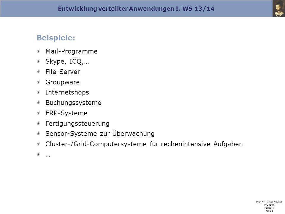 Entwicklung verteilter Anwendungen I, WS 13/14 Prof. Dr. Herrad Schmidt WS 13/14 Kapitel 1 Folie 5 Beispiele: Mail-Programme Skype, ICQ,… File-Server