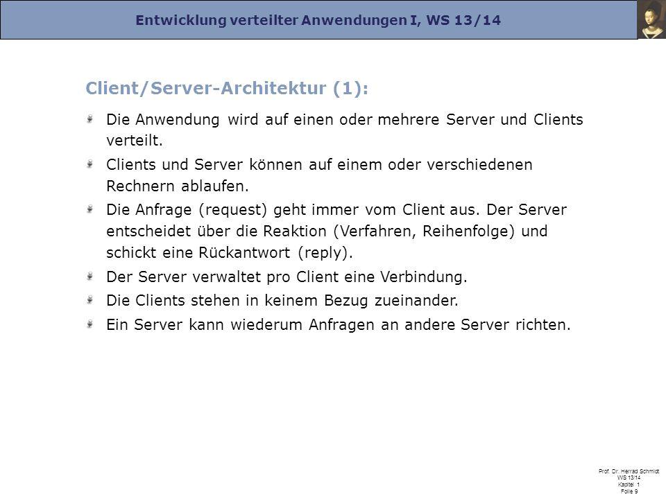 Entwicklung verteilter Anwendungen I, WS 13/14 Prof. Dr. Herrad Schmidt WS 13/14 Kapitel 1 Folie 9 Client/Server-Architektur (1): Die Anwendung wird a