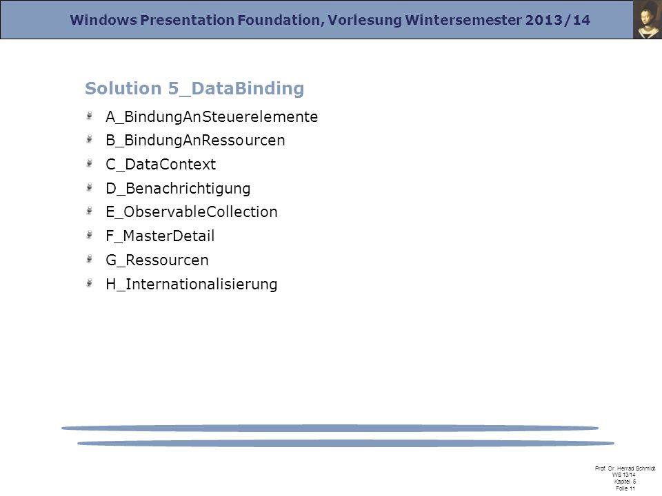 Windows Presentation Foundation, Vorlesung Wintersemester 2013/14 Prof. Dr. Herrad Schmidt WS 13/14 Kapitel 5 Folie 11 Solution 5_DataBinding A_Bindun