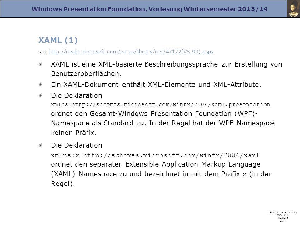 Windows Presentation Foundation, Vorlesung Wintersemester 2013/14 Prof. Dr. Herrad Schmidt WS 13/14 Kapitel 2 Folie 2 XAML (1) s.a. http://msdn.micros