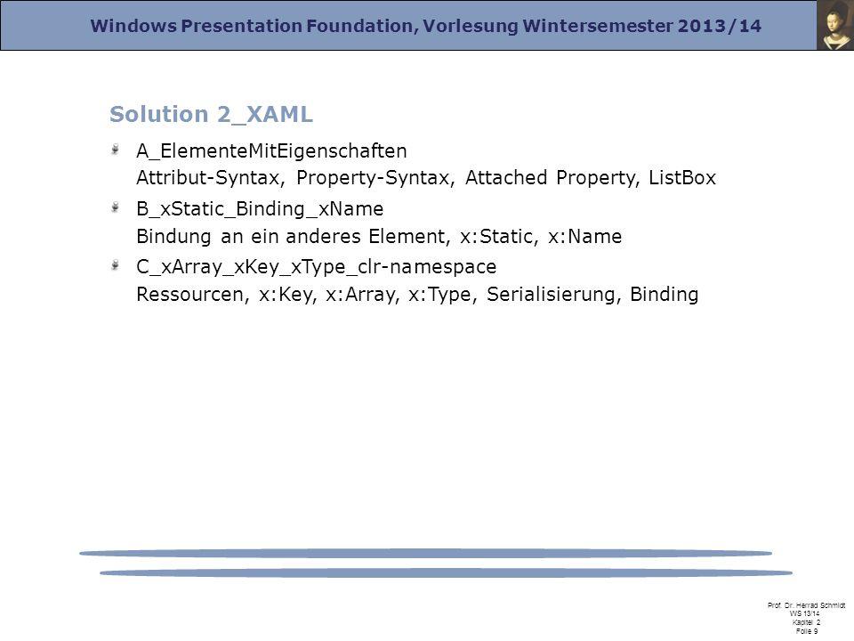 Windows Presentation Foundation, Vorlesung Wintersemester 2013/14 Prof. Dr. Herrad Schmidt WS 13/14 Kapitel 2 Folie 9 Solution 2_XAML A_ElementeMitEig