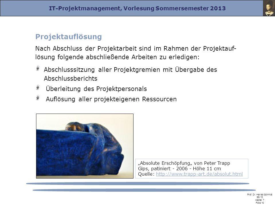 IT-Projektmanagement, Vorlesung Sommersemester 2013 Prof. Dr. Herrad Schmidt SS 13 Kapitel 7 Folie 10 Projektauflösung Nach Abschluss der Projektarbei