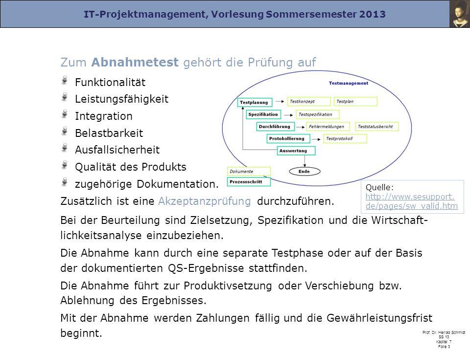 IT-Projektmanagement, Vorlesung Sommersemester 2013 Prof. Dr. Herrad Schmidt SS 13 Kapitel 7 Folie 3 Zum Abnahmetest gehört die Prüfung auf Funktional