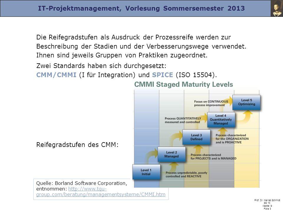 IT-Projektmanagement, Vorlesung Sommersemester 2013 Prof. Dr. Herrad Schmidt SS 13 Kapitel 9 Folie 3 Die Reifegradstufen als Ausdruck der Prozessreife