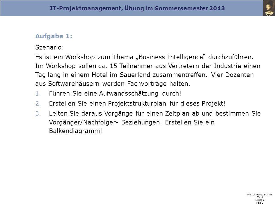 IT-Projektmanagement, Übung im Sommersemester 2013 Prof. Dr. Herrad Schmidt SS 13 Übung 2 Folie 2 Aufgabe 1: Szenario: Es ist ein Workshop zum Thema B