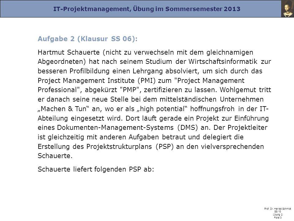 IT-Projektmanagement, Übung im Sommersemester 2013 Prof. Dr. Herrad Schmidt SS 13 Übung 2 Folie 3 Aufgabe 2 (Klausur SS 06): Hartmut Schauerte (nicht