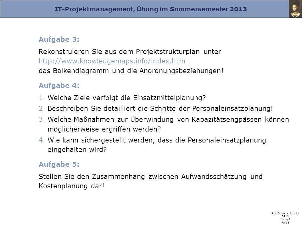 IT-Projektmanagement, Übung im Sommersemester 2013 Prof. Dr. Herrad Schmidt SS 13 Übung 2 Folie 5 Aufgabe 3: Rekonstruieren Sie aus dem Projektstruktu