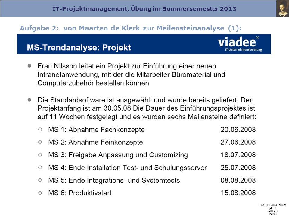 IT-Projektmanagement, Übung im Sommersemester 2013 Prof. Dr. Herrad Schmidt SS 13 Übung 3 Folie 3 Aufgabe 2: von Maarten de Klerk zur Meilensteinanaly