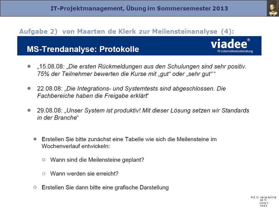IT-Projektmanagement, Übung im Sommersemester 2013 Prof. Dr. Herrad Schmidt SS 13 Übung 3 Folie 6 Aufgabe 2) von Maarten de Klerk zur Meilensteinanaly