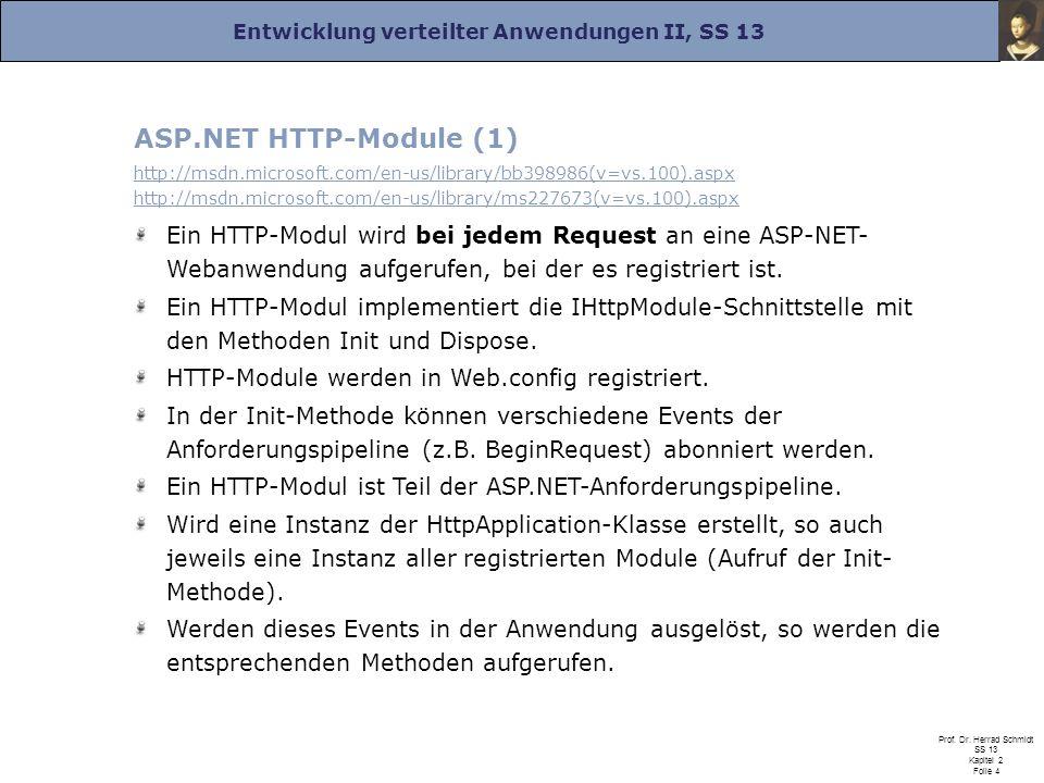 Entwicklung verteilter Anwendungen II, SS 13 Prof.