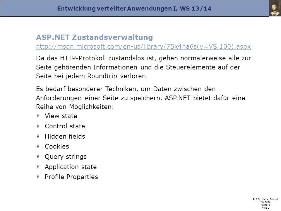Entwicklung verteilter Anwendungen I, WS 13/14 Prof. Dr. Herrad Schmidt WS 13/14 Kapitel 8 Folie 2 ASP.NET Zustandsverwaltung http://msdn.microsoft.co