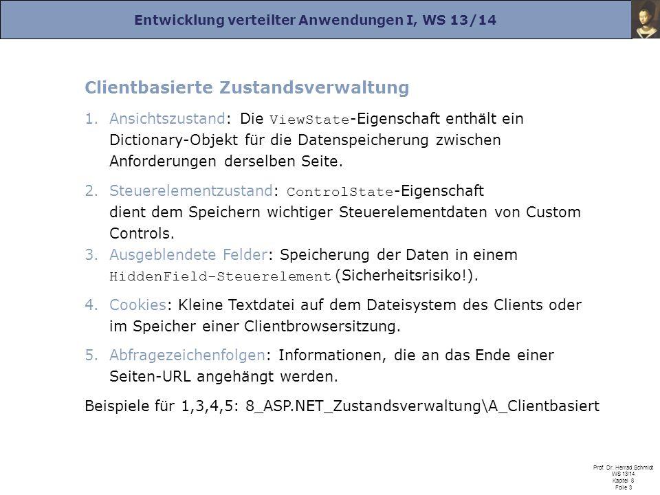 Entwicklung verteilter Anwendungen I, WS 13/14 Prof. Dr. Herrad Schmidt WS 13/14 Kapitel 8 Folie 3 Clientbasierte Zustandsverwaltung 1.Ansichtszustand