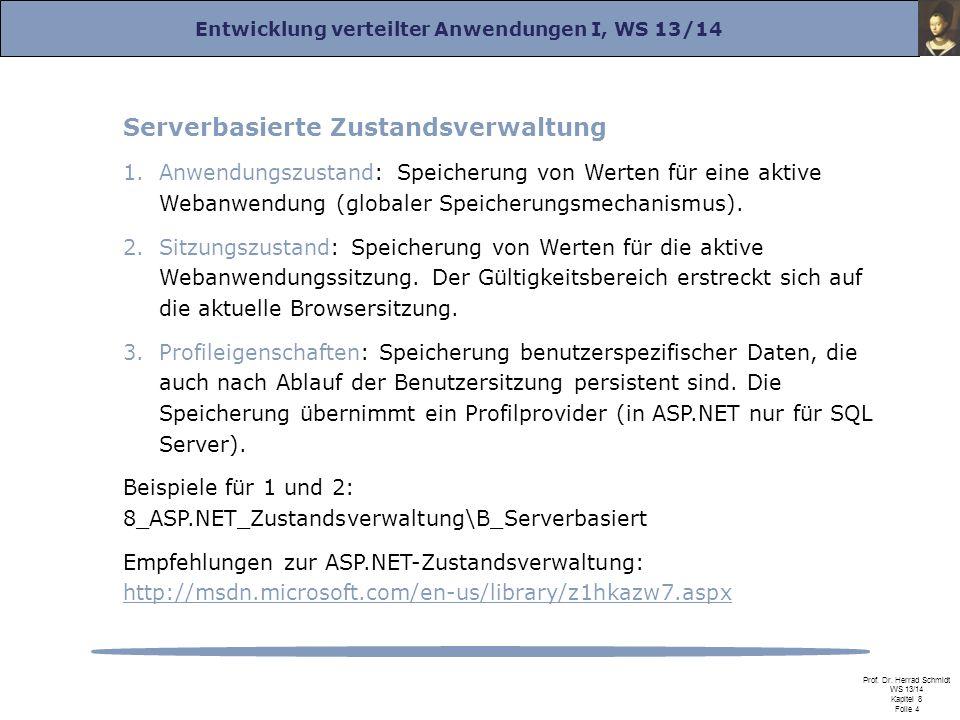 Entwicklung verteilter Anwendungen I, WS 13/14 Prof. Dr. Herrad Schmidt WS 13/14 Kapitel 8 Folie 4 Serverbasierte Zustandsverwaltung 1.Anwendungszusta