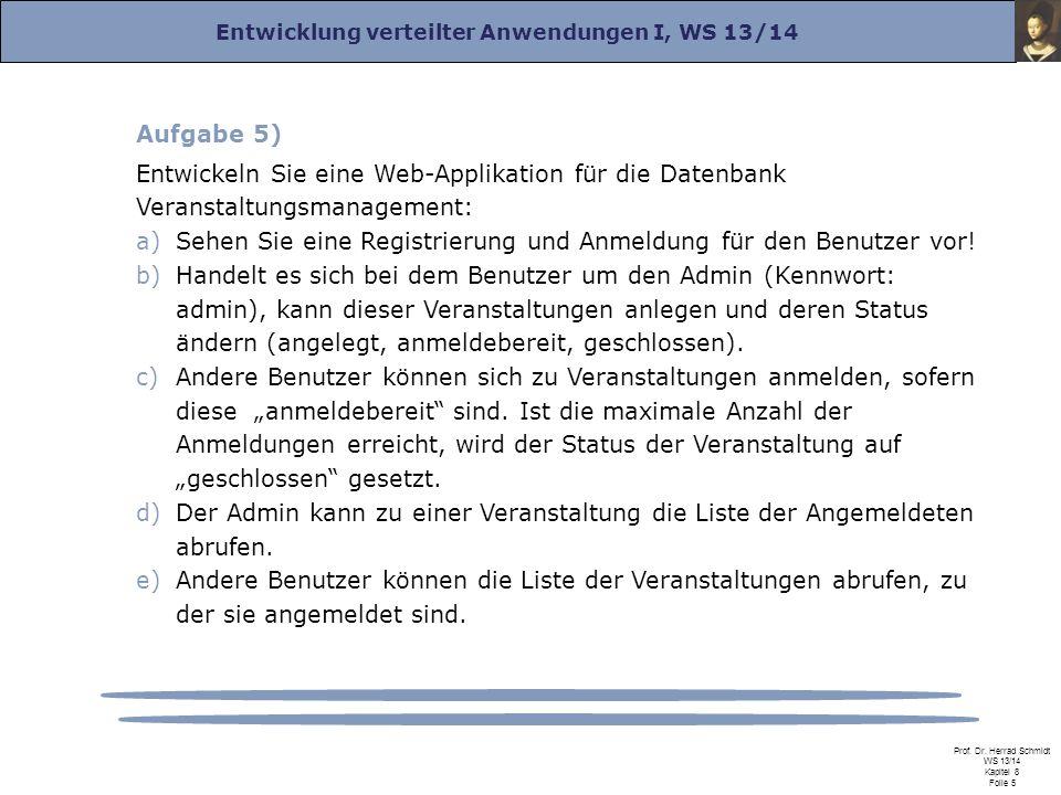 Entwicklung verteilter Anwendungen I, WS 13/14 Prof. Dr. Herrad Schmidt WS 13/14 Kapitel 8 Folie 5 Aufgabe 5) Entwickeln Sie eine Web-Applikation für
