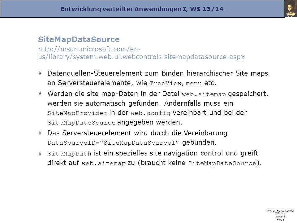 Entwicklung verteilter Anwendungen I, WS 13/14 Prof. Dr. Herrad Schmidt WS 13/14 Kapitel 9 Folie 5 SiteMapDataSource http://msdn.microsoft.com/en- us/