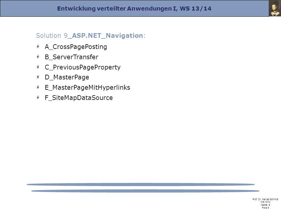 Entwicklung verteilter Anwendungen I, WS 13/14 Prof. Dr. Herrad Schmidt WS 13/14 Kapitel 9 Folie 6 Solution 9_ASP.NET_Navigation: A_CrossPagePosting B