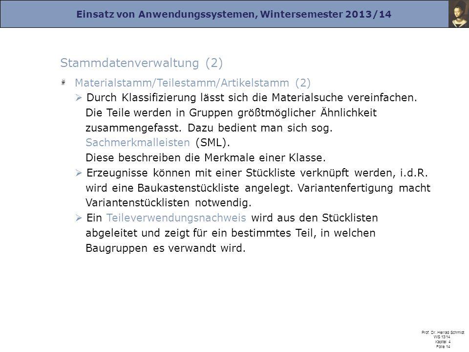 Einsatz von Anwendungssystemen, Wintersemester 2013/14 Prof. Dr. Herrad Schmidt WS 13/14 Kapitel 4 Folie 14 Stammdatenverwaltung (2) Materialstamm/Tei